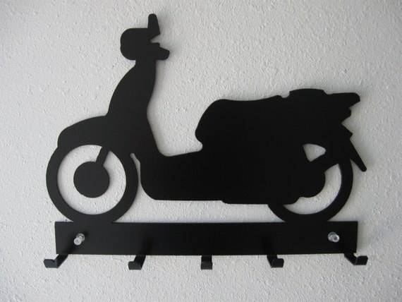 Moped Scooter Key Rack- Metal Wall Hanging-Wall Art