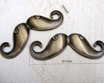 4pcs BIG mustache, Antique Brass Plated Charms Pendant