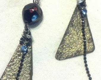 Metal and Glass Bead EarRings....Aqua Tears...FREE Shipping in the USA