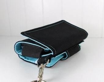 Cell Phone Wallet, Wristlet for iPhone/Galaxy - The Errand Runner - Black/Aqua