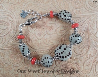 Hand Torched Lampwork Bracelet - Gray and Black with Red Coral Rondelles SRAJD