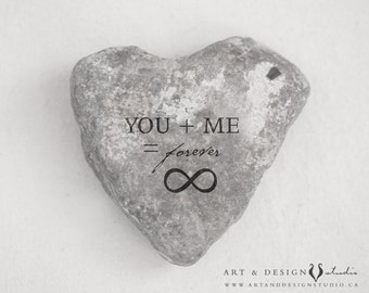 Stone Heart Art Print, Love Artwork, Rustic Art, Anniversary Gift, Boyfriend Husband Gift, You Me Infinity Sign Forever Photograph