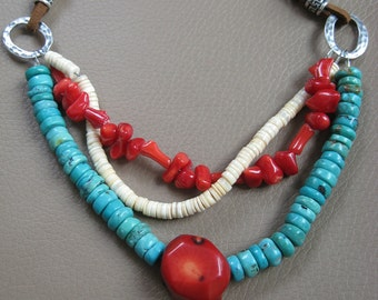 Southwest Turquoise, Coral and Shell Southwest Leather Necklace