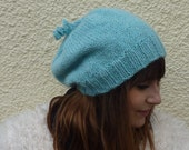 SLOUCH BEANIE  hat .( Merino wool /  Suri Alpaca  blend ). Knitted.  'Glacier ' .....Ready to ship....