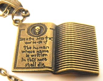 Death Note Necklace Bronze Pendant and Chain Anime Jewelry Manga Death Note Jewelry DeathNote L Ryuk Light Skull Jewelry