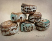Sedona.  Artisian Beads..ancient urban artifacts. polymer clay .pale aquas, stone, earthy, rustic jewelry making components