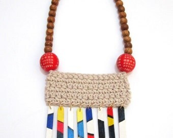 Wood Beads Painted Sticks Knitted Statement Handmade Necklace