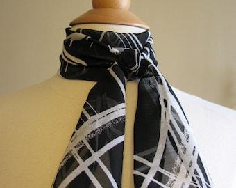 SALE - small sheer black & white paint splash print scarf - 80s inspired