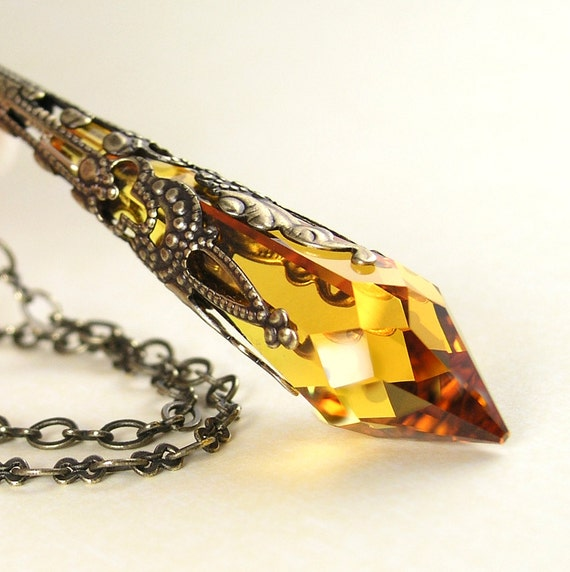 Crystal Amber Topaz Necklace Antique Gold Brass Necklace Golden Icicle Swarovski Crystal Necklace Topaz Pendant Necklace November Jewelry