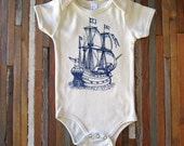 Organic Cotton Onesie - Screen Printed American Apparel Baby Onesie - Vintage Pirate Ship - Eco Friendly - Nautical (You pick size)