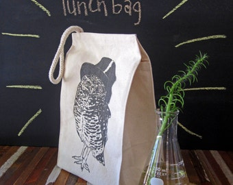 Reusable Lunch Bag - Screen Printed Recycled Cotton Lunch Bag - Eco Friendly Lunch Box - Woodland Owl - Lunch Sack - Canvas Bag - Snack Bag