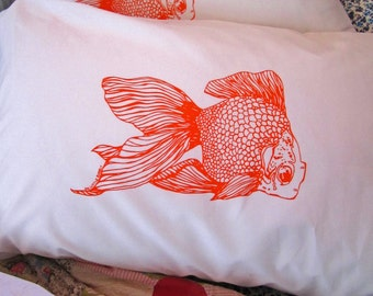Screen Printed Pillowcases (set of 2 standard) - Pillow Covers - Eco Friendly Bedding - Goldfish - Nautical Cotton Pillowcase - Handmade