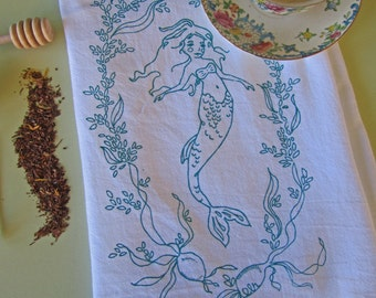 Tea Towel - Screen Printed Flour Sack Towel - Eco Friendly Dish Towel - Whimsical - Mermaid - Nautical - Seaweed - Natural Cotton Towel
