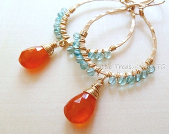 Orange Carnelian drops Aqua Apatite hammered 14k GF earrings. Bright. Vibrant. Juicy. Tangerine. Aqua. Drop earrings