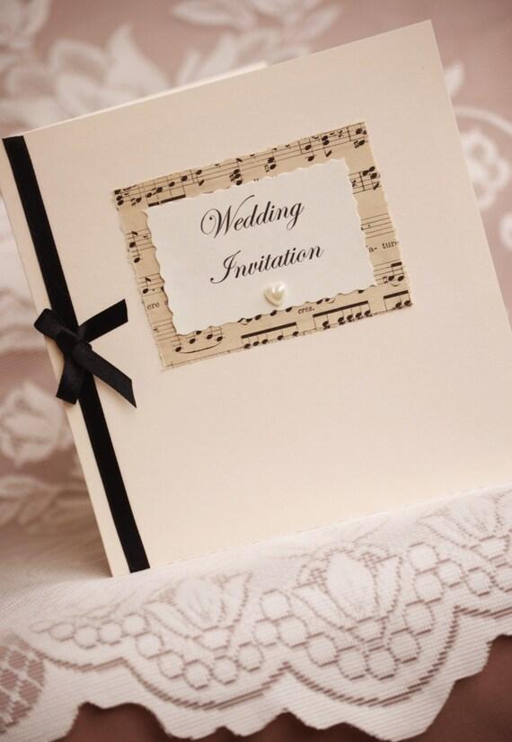 Items similar to vintage music wedding invitation with for Etsy owl wedding invitations