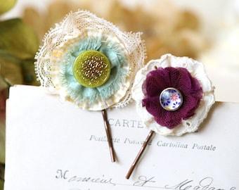 Flower Hairpins, Bridal Hairpins, Bride Hairpiece, Fabric Flower Bobby Pins, Bridesmaid Hair Accessory, Colorful Fabric Hair Flowers, Boho
