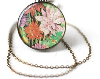 Red and Pink Spring Flowers Art Pendant Necklace - Bridesmaid Jewelry For Spring Weddings