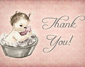 Vintage Baby Shower Invitation For Girl - Baby Bath - Pink - DIY Printable - Matching Thank You Card