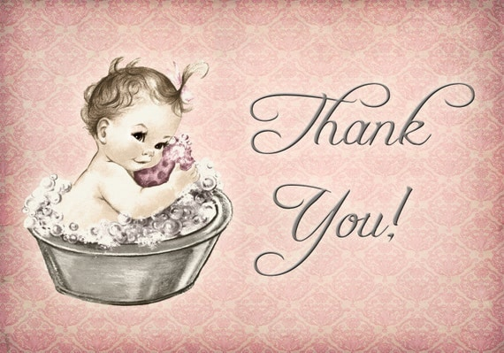 Vintage baby shower invitation for girl baby bath pink vintage baby shower invitation for girl baby bath pink diy printable matching thank you card filmwisefo Images