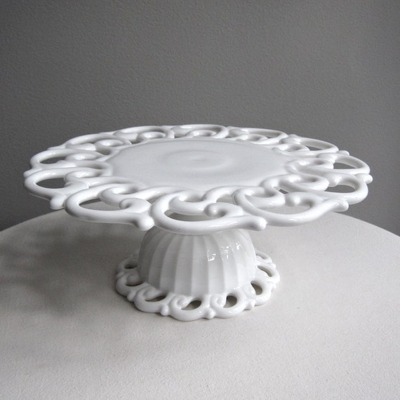 Fostoria Milk Glass Cake Stand