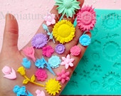Flexible Mold Silicone Mold (Flower 22pcs) Kawaii Gumpaste Fondant Cupcake Topper Chocolate Mold Resin Clay Jewelry Scrapbooking MD032