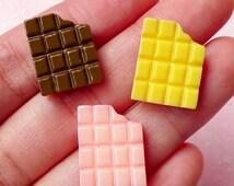 Bitten Chocolate Bar Cabochons (3pcs / 14mm x 18mm / Strawberry, Chocolate & Milk) Kawaii Miniature Sweets Deco Resin Decoden Piece FCAB122