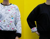 Vintage 80's reversible sweatshirt, black & confetti / squiggle pattern - Large