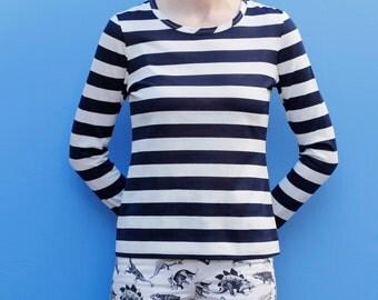 Vintage 60's nautical striped polyester shirt, dark navy & white, slightly sheer - Women's Small / Medium