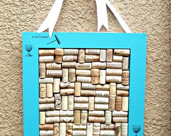 Turquoise Blue Wine Cork Message Board - Uncork, Cheers!