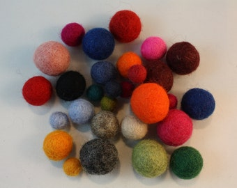 felt ball 150 assorted size of felted balls, Multicolor and Multi size Mix