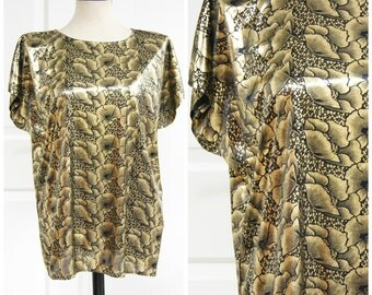 Gold Lamé Floral Shirt Boxy Fit Medium Large Oversize 80s Vintage Metallic