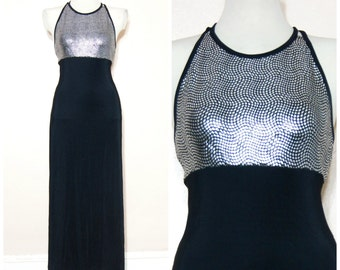 90s Silver Snake Print Maxi Dress Black Medium Party Club Kid Rave Fancy Criss Cross Strappy