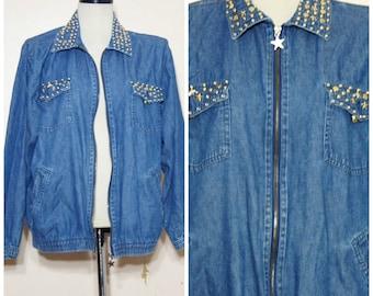 80s 90s Studded Jeans Jacket Medium Oversize Slouch Denim Studs Rhinestones