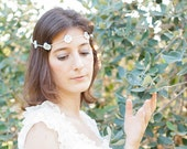 Bridal hair band with white flowers - handmade crochet unique piece