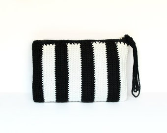 Black and white striped crochet clutch (wristlet) with strap
