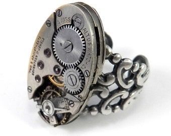 Steampunk Ring - Silver Clockwork - Antique Mechanical Watch - SOLDERED for QUALITY - Industrial Ring on Silver