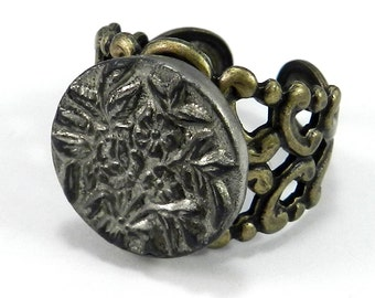 Edwardian Jewelry - Antique Button Ring - Steel Blossom Button - Adjustable - 1860-1920 - on brass