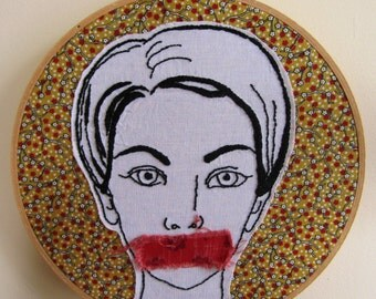 Fabric Collage Hoop Frame Feminist Retro Censorship Wall Art Embroidery  - 8.5 x 8.5 inches