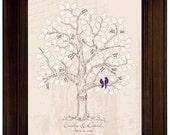 Guestbook alternative wedding tree love bird themed wedding rustic wedding vintage guest book signature tree custom wedding gift original