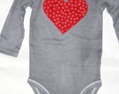 Baby Onesie- Long Sleeve, Hand-Dyed Gray with Red Heart