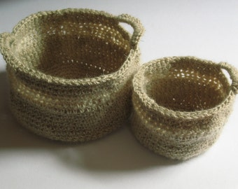 Two Nesting Crochet Baskets in Natural Colours