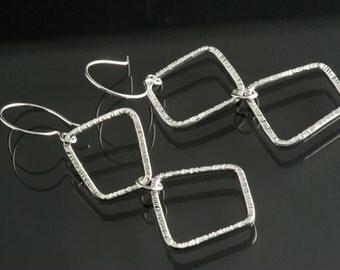 Sterling Silver double Freeform loops dangle Earrings, Sterling Silver Ear wire, light weight earrings