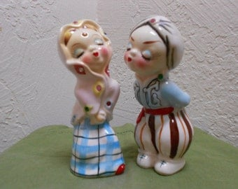 Gypsy Couple Salt & Pepper Set RARE Form Vintage 30s-40s Over The Top Cute - Large Sized Shakers/ Cake Toppers