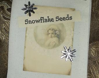 Shabby and chic ornament, Original Snowflake seeds, winter decor, white