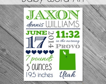 INSTANT DOWNLOAD - 8x10 Baby Subway Art Printable- fully layered .psd file