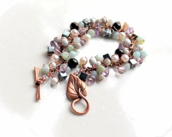 copper gemstone bracelet / wire wrapped handmade gift / lignite (jet) / howlite / amethyst / amazonite / hemalyke / pearls / feldspar