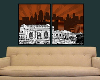 Kansas City Split Digital City Wall Art