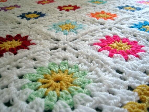 SALE Flower Granny Square White Handmade Crochet Blanket Afghan