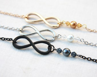 Summer Outdoors June Birthday Gift Infinity Necklace Gold Silver or Black Pearl Necklace Bridal Jewelry Bridesmaids gift for her