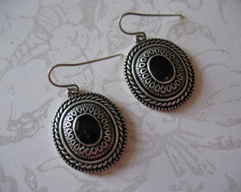 Faux Onyx Nineties Medallion Earrings